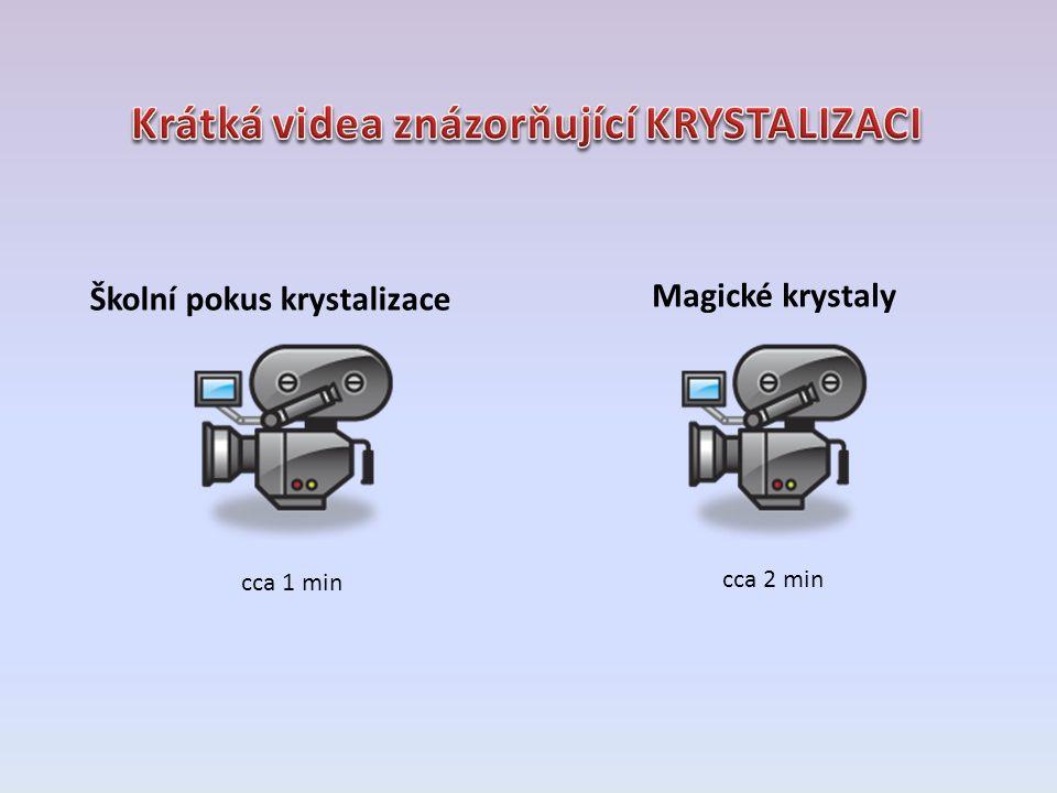 Školní pokus krystalizace Magické krystaly cca 1 min cca 2 min