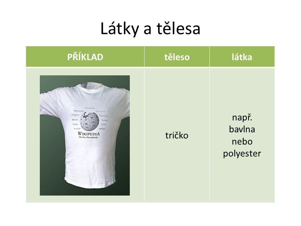 Látky a tělesa PŘÍKLADtělesolátka tričko např. bavlna nebo polyester
