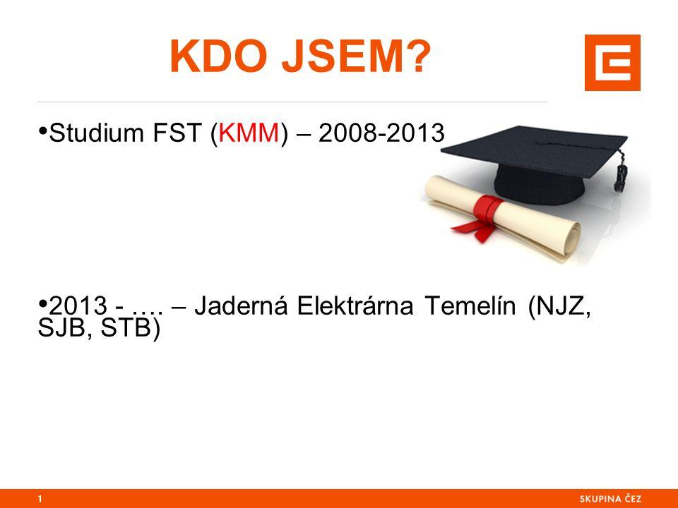 KDO JSEM Studium FST (KMM) – 2008-2013 2013 - …. – Jaderná Elektrárna Temelín (NJZ, SJB, STB) 1