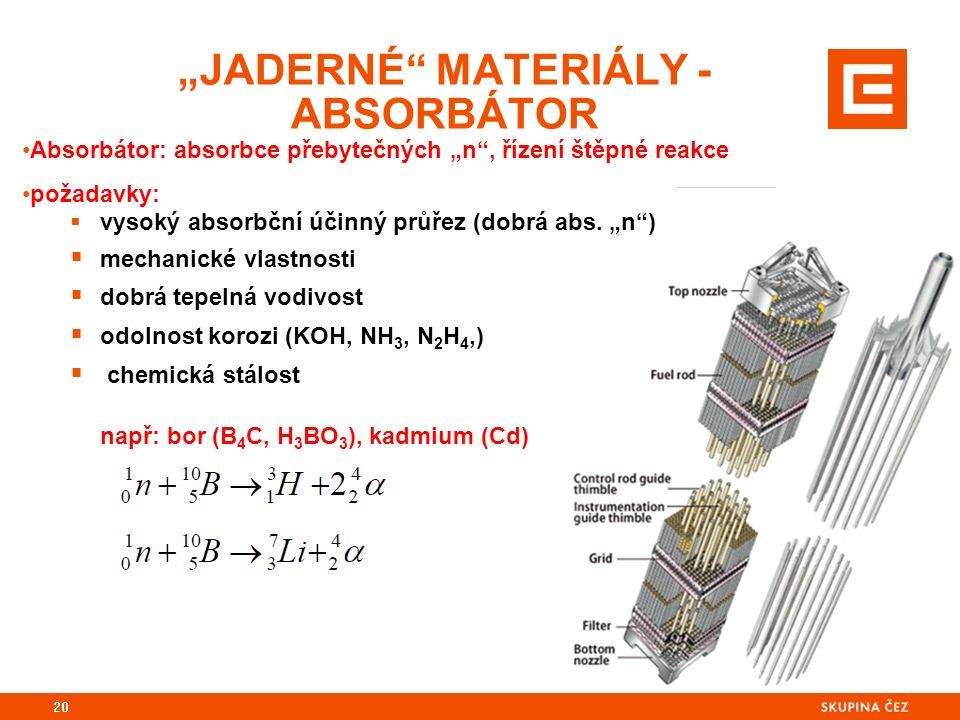 """Absorbátor: absorbce přebytečných """"n , řízení štěpné reakce požadavky:  vysoký absorbční účinný průřez (dobrá abs."""