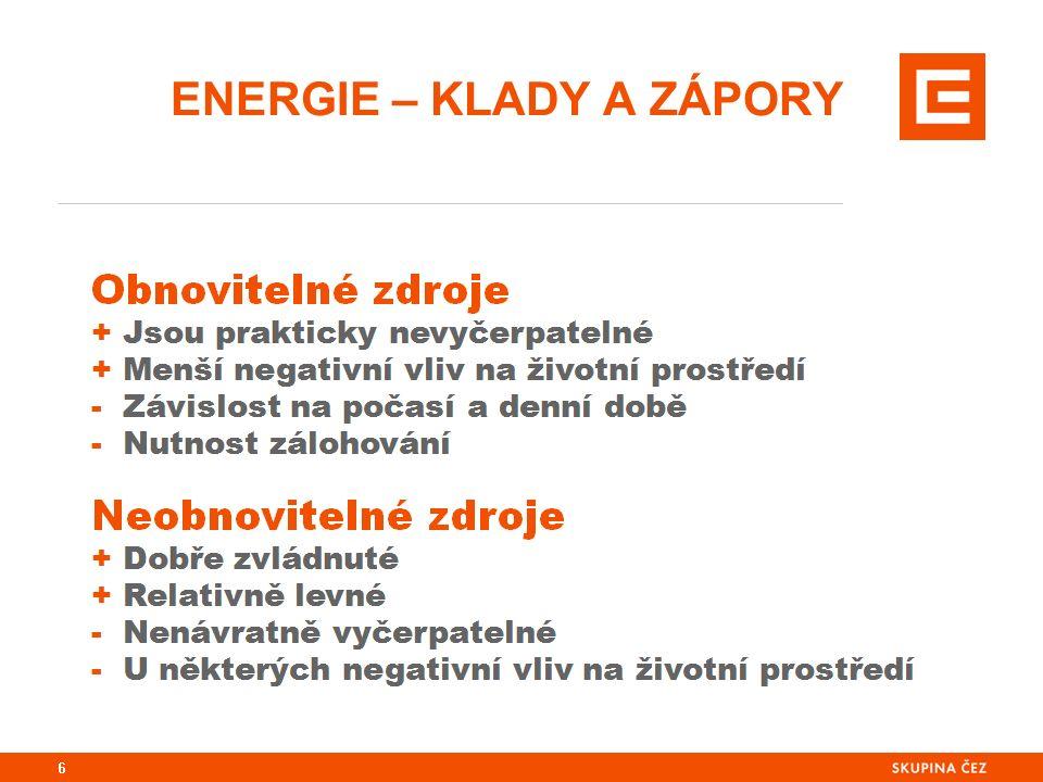 ENERGIE – KLADY A ZÁPORY 6