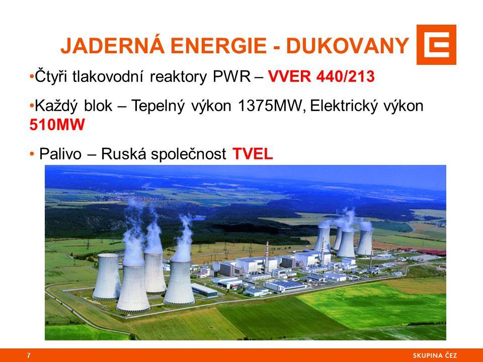 JADERNÁ ENERGIE - DUKOVANY 7 Čtyři tlakovodní reaktory PWR – VVER 440/213 Každý blok – Tepelný výkon 1375MW, Elektrický výkon 510MW Palivo – Ruská společnost TVEL