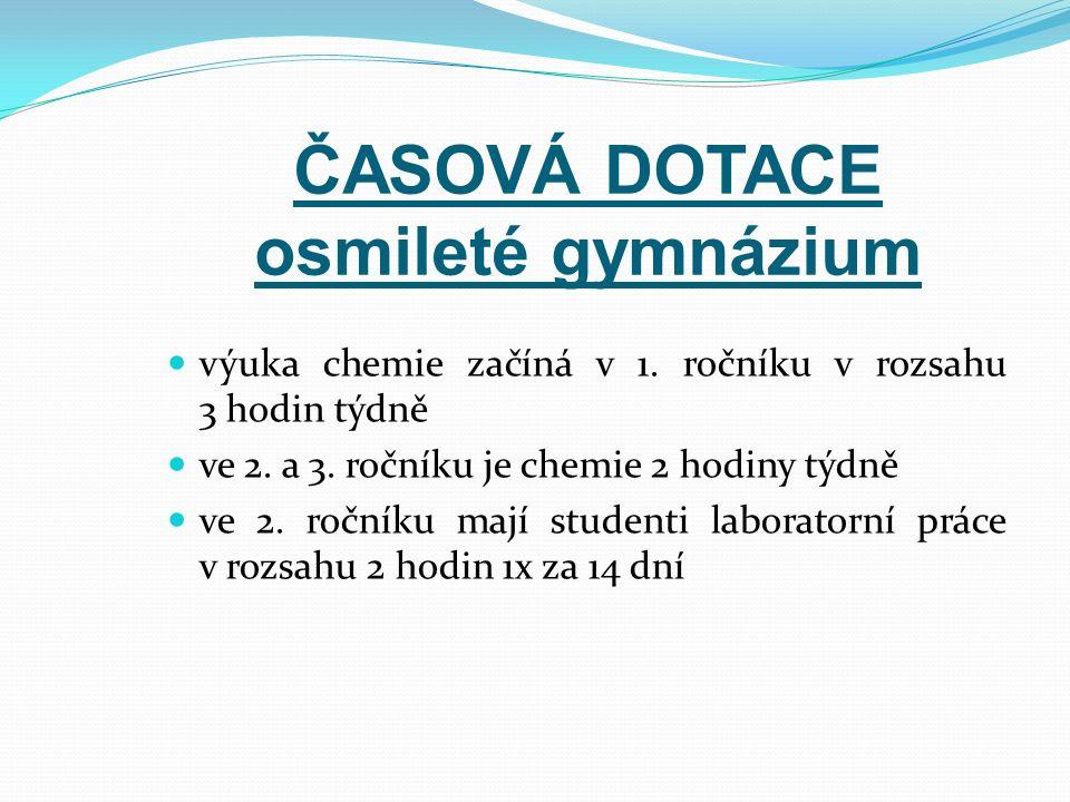 ČASOVÁ DOTACE osmileté gymnázium výuka chemie začíná v 1.