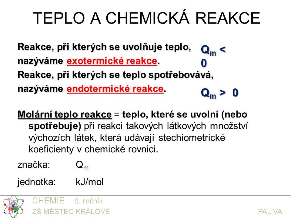 TEPLO A CHEMICKÁ REAKCE Reakce, při kterých se uvolňuje teplo, nazýváme exotermické reakce.