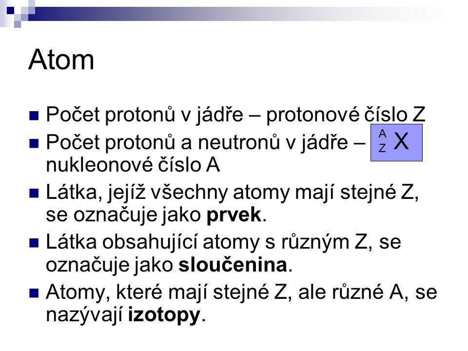 Počet protonů v jádře – protonové číslo Z Počet protonů a neutronů v jádře – nukleonové číslo A Látka, jejíž všechny atomy mají stejné Z, se označuje jako prvek.