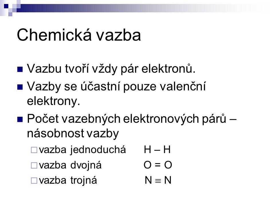 Chemická vazba Vazbu tvoří vždy pár elektronů. Vazby se účastní pouze valenční elektrony.