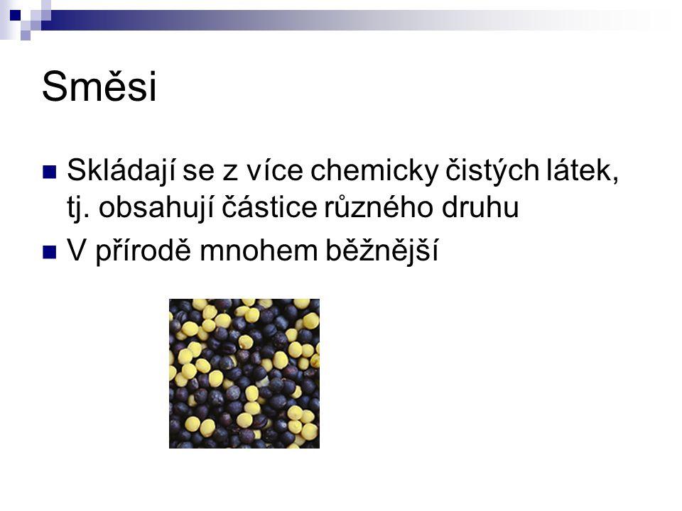 Směsi Skládají se z více chemicky čistých látek, tj.