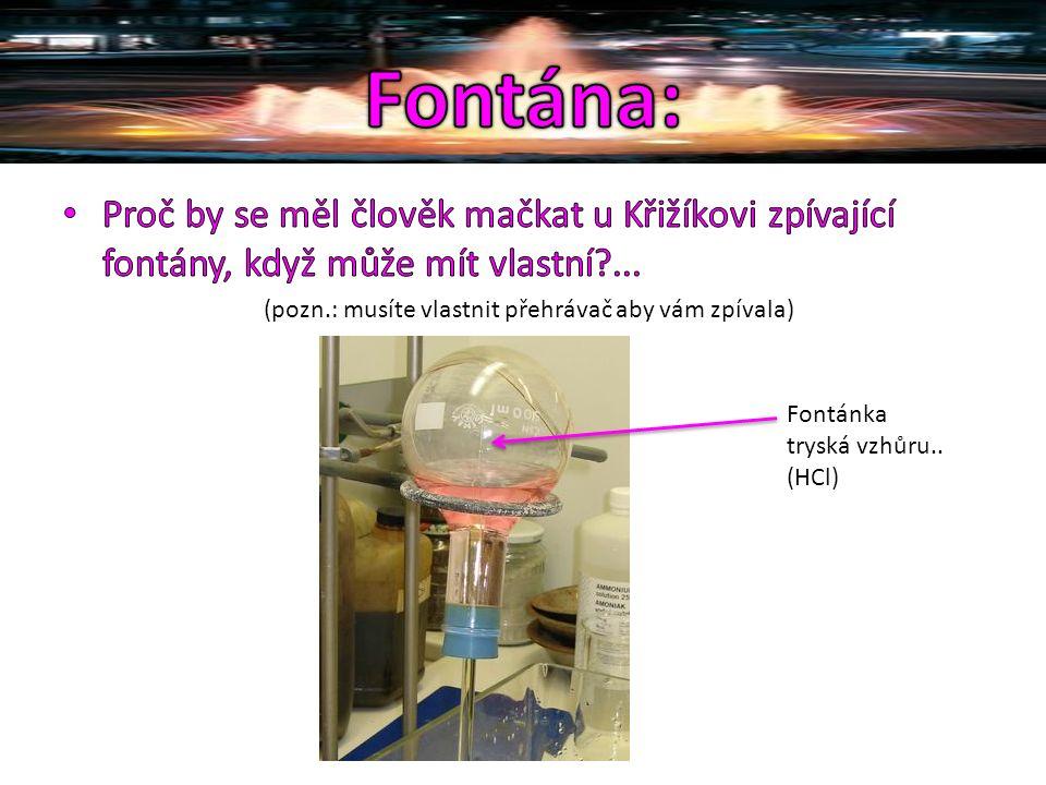 Fontánka tryská vzhůru.. (HCl)
