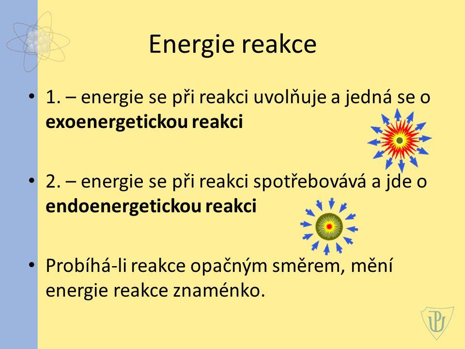 Energie reakce 1.– energie se při reakci uvolňuje a jedná se o exoenergetickou reakci 2.
