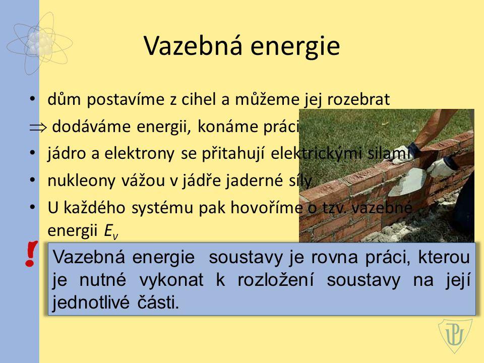Vazebná energie Einsteinův vztah každé změně energie ΔE odpovídá změna hmotnosti Δm c je velikost rychlosti světla ve vakuu Dodáváme-li tedy soustavě energii, zvětšujeme zároveň i její hmotnost a naopak.