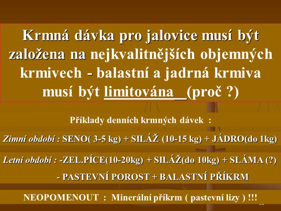 29 Bez dostatečné výživy se nedosáhne potřebného selekčního tlaku !!! ( (důsledek : negativní výběr ) Přílišná intenzita výživy je rovněž nežádoucí !!