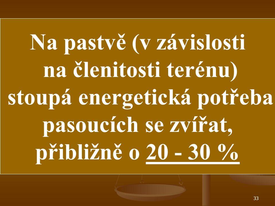 32 Zobecnění nutričních potřeb JALOVIC : 1./ Potřeba sušiny - 1 kg na každých 50 kg ž.hm. 2./ Potřeba PDI - 70 gramů na 1 kg sušiny 3./ Potřeba NEL -