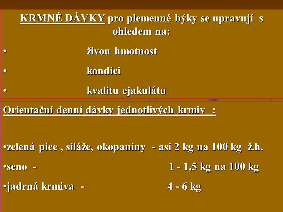 34 Požadavky na výživu plemenných býků !!! Plnohodnotná výživa během celého období života !!!! KRMIVA pro plemenné býky musí být : chutná maximálně st