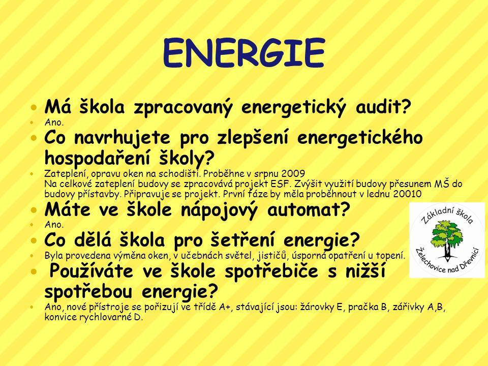 ENERGIE Má škola zpracovaný energetický audit.Ano.