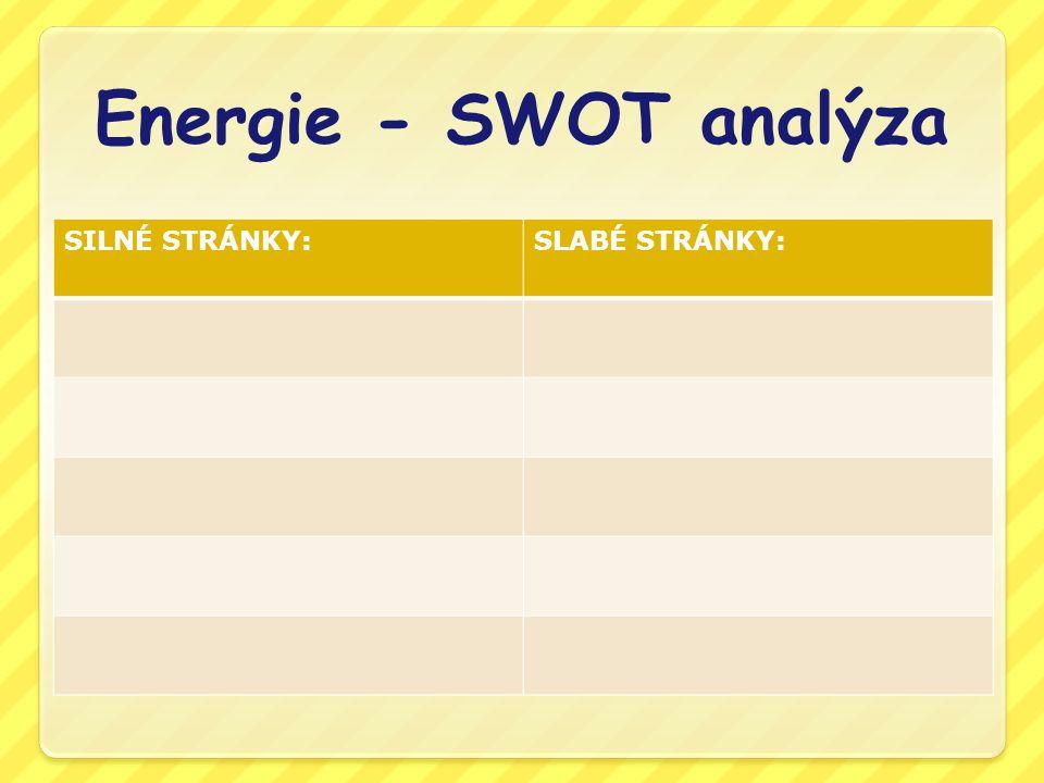 Energie - SWOT analýza SILNÉ STRÁNKY:SLABÉ STRÁNKY: