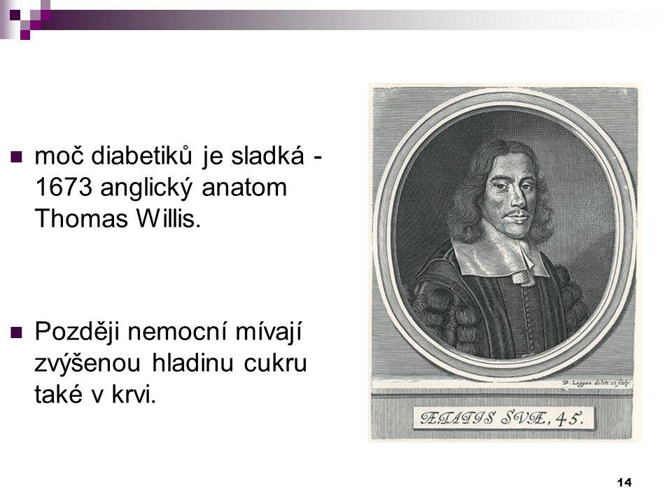 moč diabetiků je sladká - 1673 anglický anatom Thomas Willis. Později nemocní mívají zvýšenou hladinu cukru také v krvi. 14