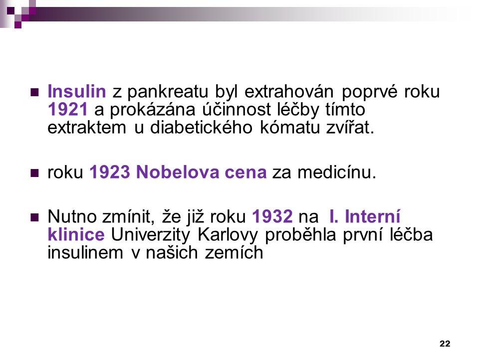 Insulin z pankreatu byl extrahován poprvé roku 1921 a prokázána účinnost léčby tímto extraktem u diabetického kómatu zvířat. roku 1923 Nobelova cena z
