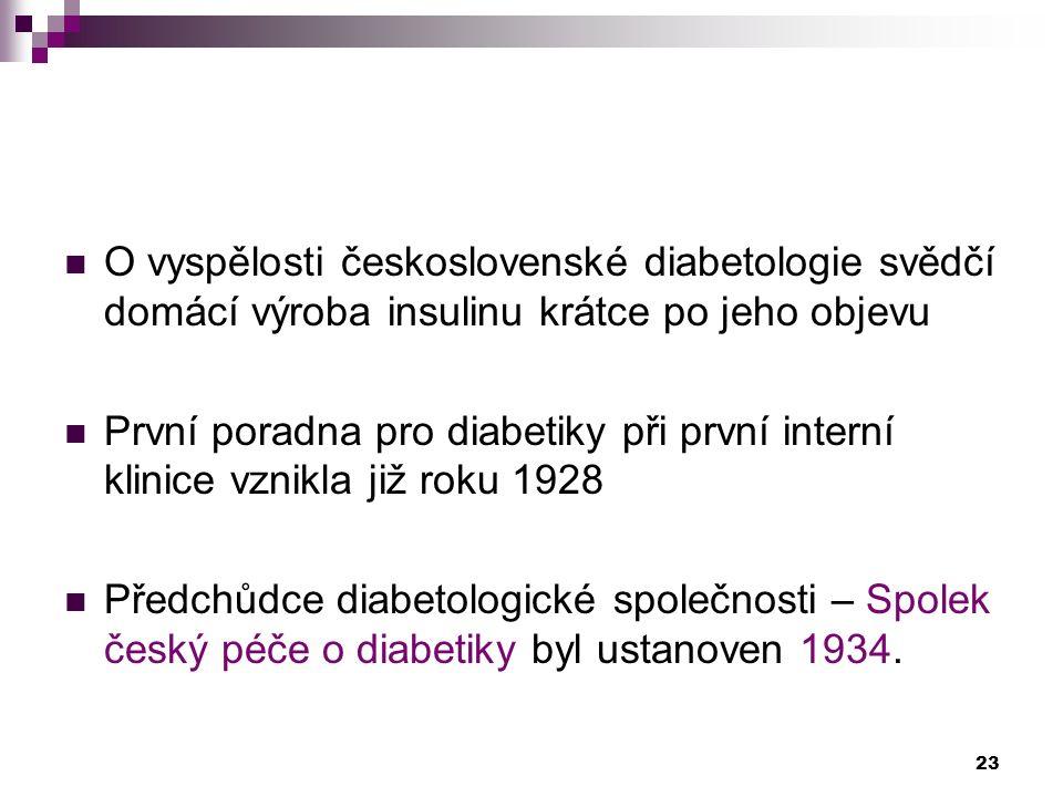 O vyspělosti československé diabetologie svědčí domácí výroba insulinu krátce po jeho objevu První poradna pro diabetiky při první interní klinice vzn