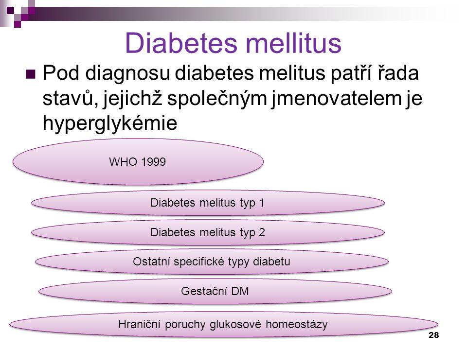 Diabetes mellitus Pod diagnosu diabetes melitus patří řada stavů, jejichž společným jmenovatelem je hyperglykémie WHO 1999 Diabetes melitus typ 1 Diab