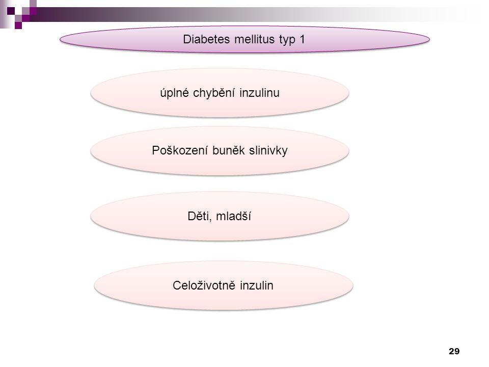 Diabetes mellitus typ 1 úplné chybění inzulinu Poškození buněk slinivky Děti, mladší Celoživotně inzulin 29