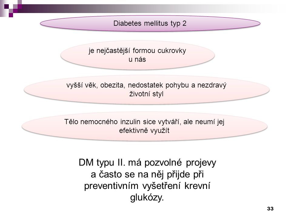 Diabetes mellitus typ 2 DM typu II.