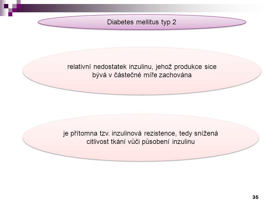 Diabetes mellitus typ 2 relativní nedostatek inzulinu, jehož produkce sice bývá v částečné míře zachována je přítomna tzv. inzulinová rezistence, tedy
