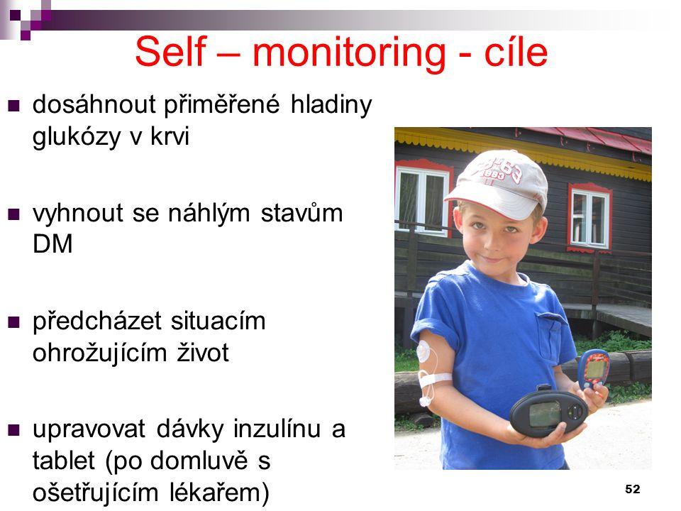 Self – monitoring - cíle dosáhnout přiměřené hladiny glukózy v krvi vyhnout se náhlým stavům DM předcházet situacím ohrožujícím život upravovat dávky