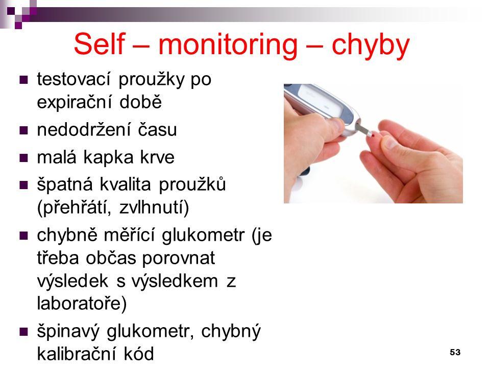 testovací proužky po expirační době nedodržení času malá kapka krve špatná kvalita proužků (přehřátí, zvlhnutí) chybně měřící glukometr (je třeba obča