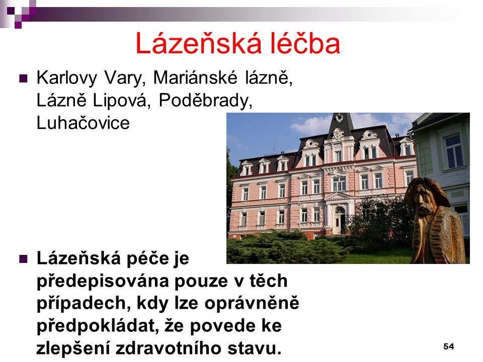 Karlovy Vary, Mariánské lázně, Lázně Lipová, Poděbrady, Luhačovice Lázeňská péče je předepisována pouze v těch případech, kdy lze oprávněně předpoklád