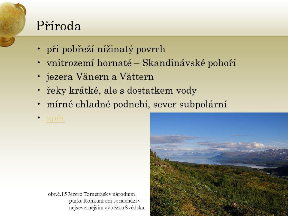 Příroda při pobřeží nížinatý povrch vnitrozemí hornaté – Skandinávské pohoří jezera Vänern a Vättern řeky krátké, ale s dostatkem vody mírné chladné p