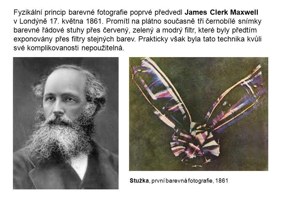 Fyzikální princip barevné fotografie poprvé předvedl James Clerk Maxwell v Londýně 17. května 1861. Promítl na plátno současně tři černobílé snímky ba