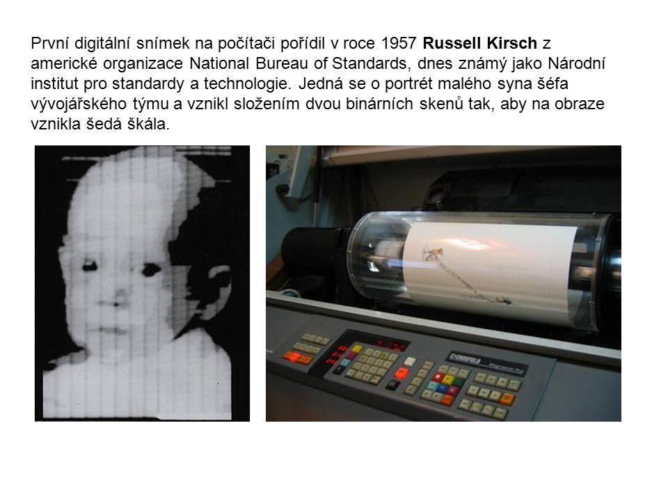 První digitální snímek na počítači pořídil v roce 1957 Russell Kirsch z americké organizace National Bureau of Standards, dnes známý jako Národní inst