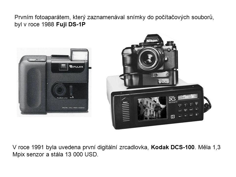 Prvním fotoaparátem, který zaznamenával snímky do počítačových souborů, byl v roce 1988 Fuji DS-1P V roce 1991 byla uvedena první digitální zrcadlovka
