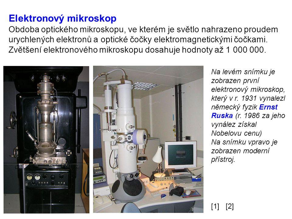 Elektronový mikroskop Obdoba optického mikroskopu, ve kterém je světlo nahrazeno proudem urychlených elektronů a optické čočky elektromagnetickými čočkami.