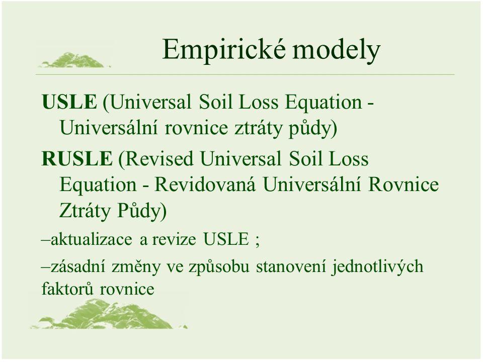Empirické modely USLE (Universal Soil Loss Equation - Universální rovnice ztráty půdy) RUSLE (Revised Universal Soil Loss Equation - Revidovaná Universální Rovnice Ztráty Půdy) –aktualizace a revize USLE ; –zásadní změny ve způsobu stanovení jednotlivých faktorů rovnice