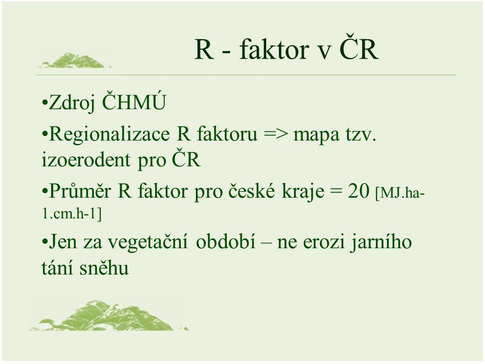 R - faktor v ČR Zdroj ČHMÚ Regionalizace R faktoru => mapa tzv.