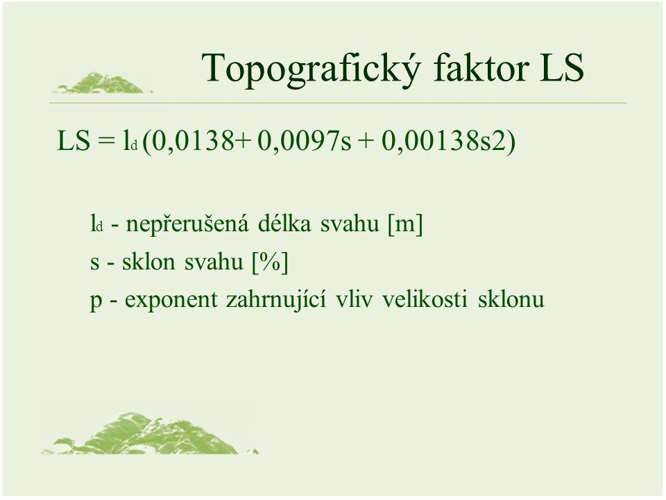 Topografický faktor LS LS = l d (0,0138+ 0,0097s + 0,00138s2) l d - nepřerušená délka svahu [m] s - sklon svahu [%] p - exponent zahrnující vliv velikosti sklonu