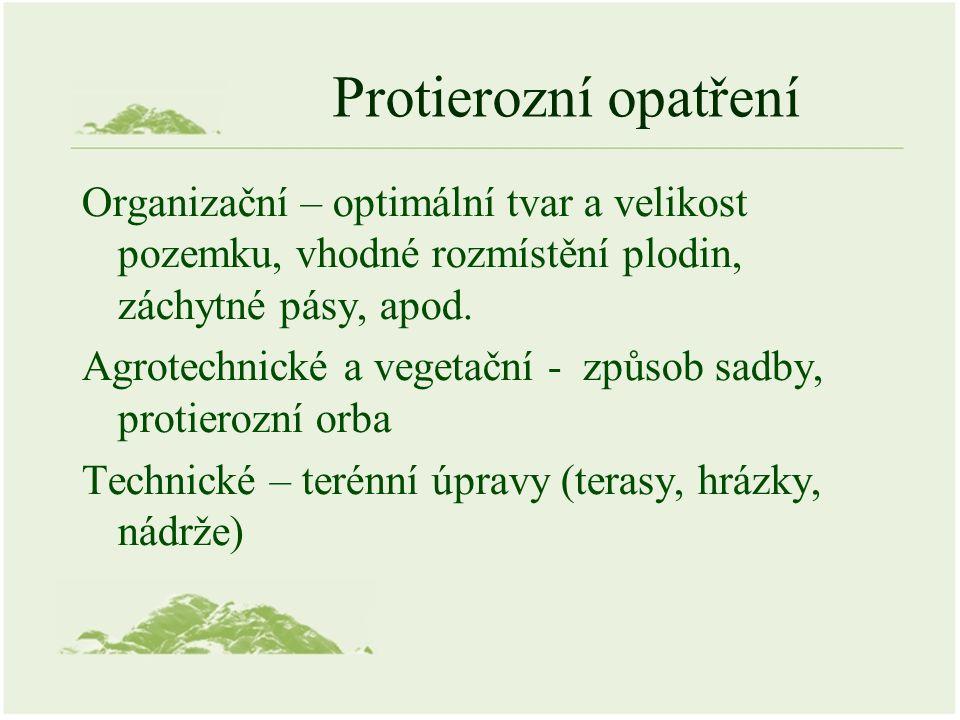Protierozní opatření Organizační – optimální tvar a velikost pozemku, vhodné rozmístění plodin, záchytné pásy, apod.