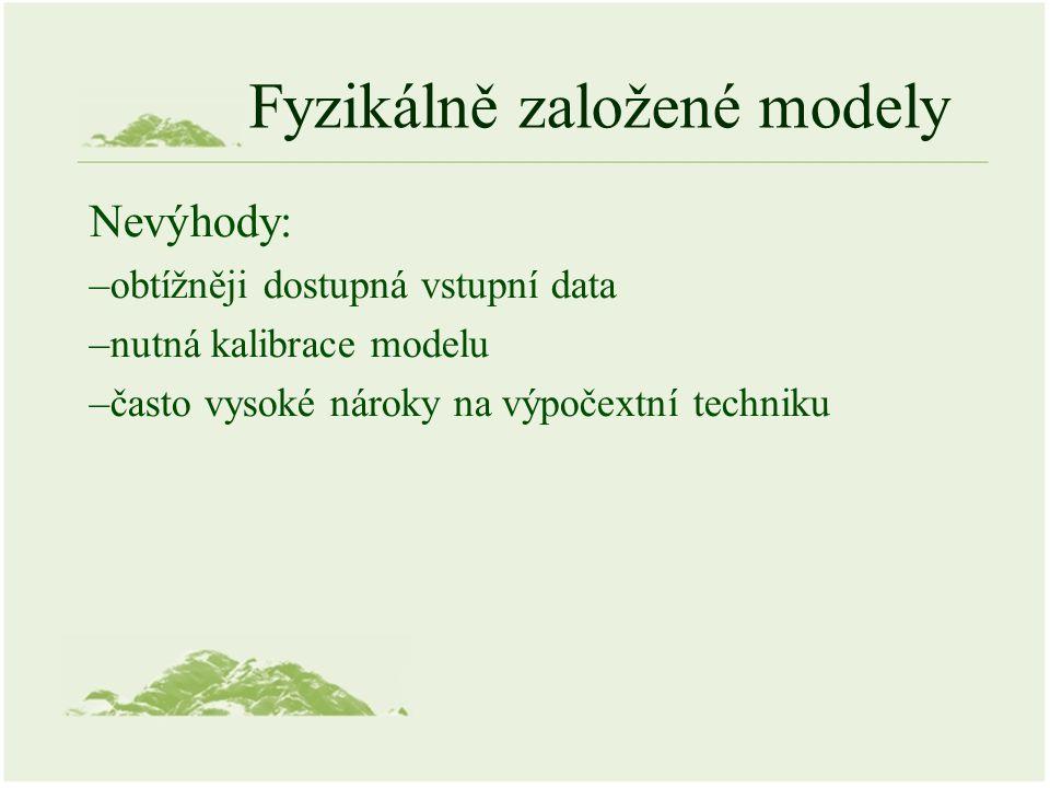 Fyzikálně založené modely Nevýhody: –obtížněji dostupná vstupní data –nutná kalibrace modelu –často vysoké nároky na výpočextní techniku
