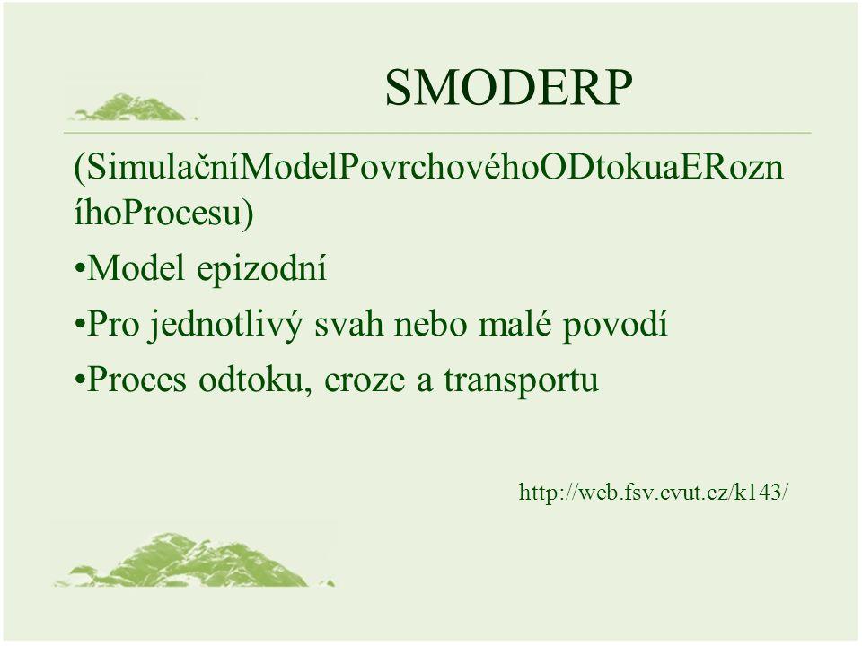 SMODERP (SimulačníModelPovrchovéhoODtokuaERozn íhoProcesu) Model epizodní Pro jednotlivý svah nebo malé povodí Proces odtoku, eroze a transportu http://web.fsv.cvut.cz/k143/