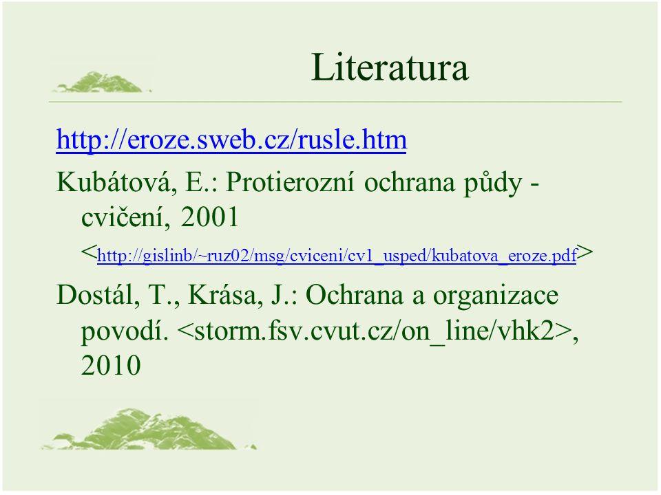 Literatura http://eroze.sweb.cz/rusle.htm Kubátová, E.: Protierozní ochrana půdy - cvičení, 2001 http://gislinb/~ruz02/msg/cviceni/cv1_usped/kubatova_eroze.pdf Dostál, T., Krása, J.: Ochrana a organizace povodí., 2010