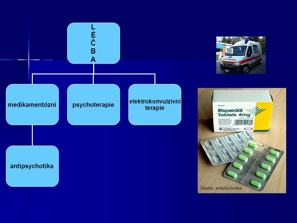 Ukázka antipsychotika LÉČBALÉČBA medikamentóznípsychoterapie elektrokonvulzivní terapie antipsychotika