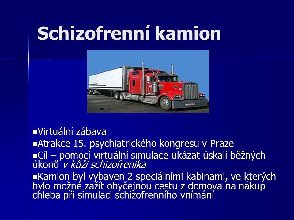 Schizofrenní kamion Virtuální zábava Virtuální zábava Atrakce 15. psychiatrického kongresu v Praze Atrakce 15. psychiatrického kongresu v Praze Cíl –