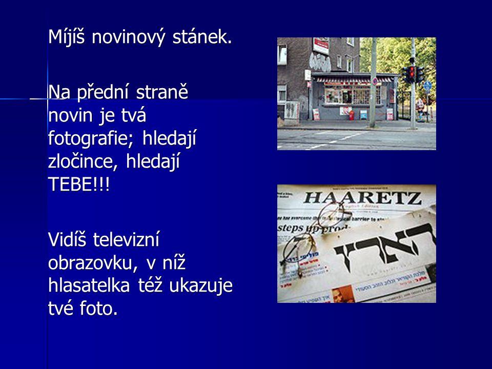 Míjíš novinový stánek. Na přední straně novin je tvá fotografie; hledají zločince, hledají TEBE!!! Vidíš televizní obrazovku, v níž hlasatelka též uka
