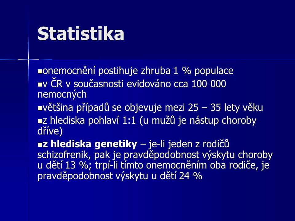 Statistika onemocnění postihuje zhruba 1 % populace onemocnění postihuje zhruba 1 % populace v ČR v současnosti evidováno cca 100 000 nemocných v ČR v současnosti evidováno cca 100 000 nemocných většina případů se objevuje mezi 25 – 35 lety věku většina případů se objevuje mezi 25 – 35 lety věku z hlediska pohlaví 1:1 (u mužů je nástup choroby dříve) z hlediska pohlaví 1:1 (u mužů je nástup choroby dříve) z hlediska genetiky – je-li jeden z rodičů schizofrenik, pak je pravděpodobnost výskytu choroby u dětí 13 %; trpí-li tímto onemocněním oba rodiče, je pravděpodobnost výskytu u dětí 24 % z hlediska genetiky – je-li jeden z rodičů schizofrenik, pak je pravděpodobnost výskytu choroby u dětí 13 %; trpí-li tímto onemocněním oba rodiče, je pravděpodobnost výskytu u dětí 24 %