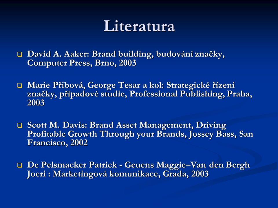 Literatura  David A. Aaker: Brand building, budování značky, Computer Press, Brno, 2003  Marie Přibová, George Tesar a kol: Strategické řízení značk