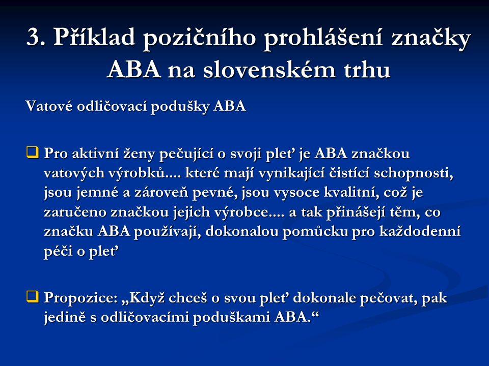 3. Příklad pozičního prohlášení značky ABA na slovenském trhu Vatové odličovací podušky ABA  Pro aktivní ženy pečující o svoji pleť je ABA značkou va