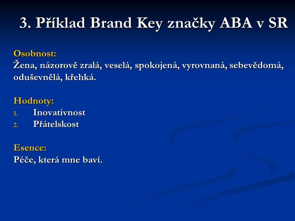 3. Příklad Brand Key značky ABA v SR Osobnost: Žena, názorově zralá, veselá, spokojená, vyrovnaná, sebevědomá, oduševnělá, křehká. Hodnoty: 1. Inovati