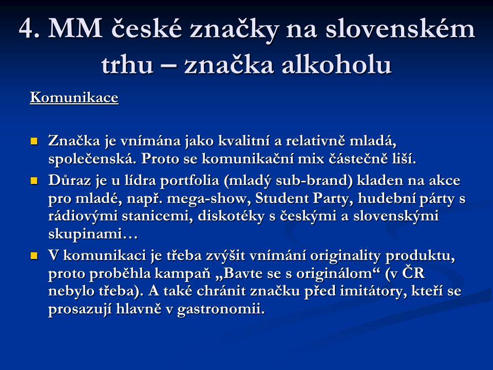 4. MM české značky na slovenském trhu – značka alkoholu Komunikace Značka je vnímána jako kvalitní a relativně mladá, společenská. Proto se komunikačn