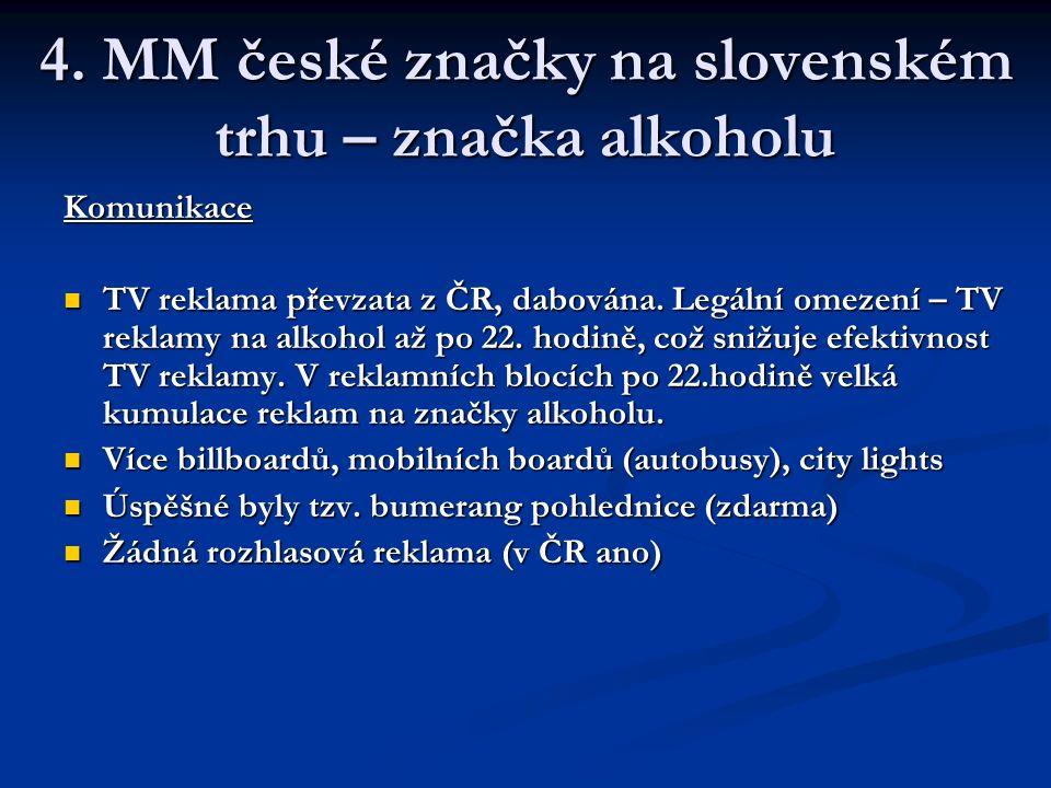 4. MM české značky na slovenském trhu – značka alkoholu Komunikace TV reklama převzata z ČR, dabována. Legální omezení – TV reklamy na alkohol až po 2